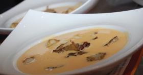 Crème de potiron et cèpes , St Jacques poêlées