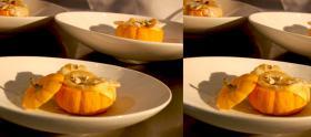 Marguerite de noix de saint jacques, mini soupière végétale, Émulsion butternut et croquant noisette